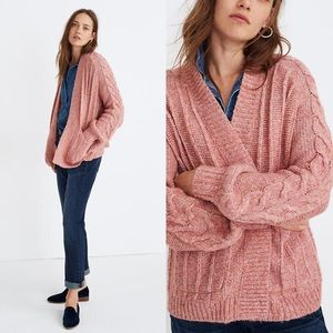 Madewell Bubble Sleeve Cableknit Cardigan Sweater